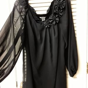 Liz Claiborne Dresses - Black Formal Flowy Sleeve Floral Plus Dress 20W